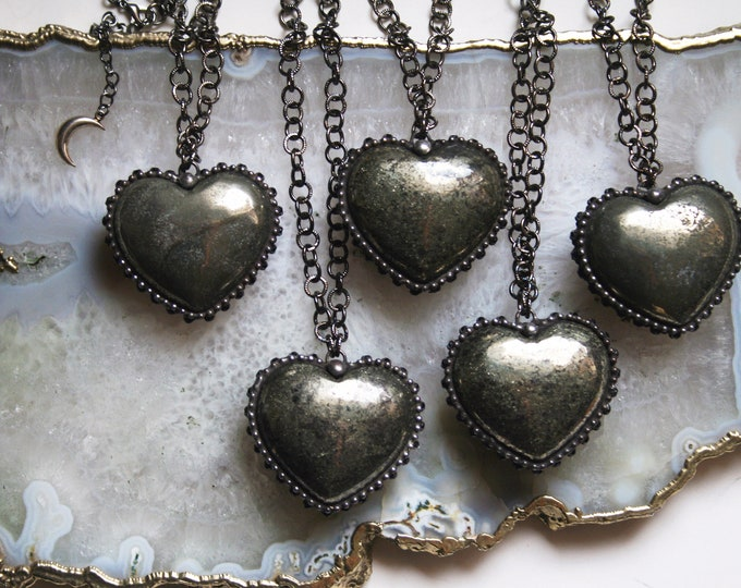 Pyrite Heart Necklace - Large // Pyrite Crystal Puffed Heart Stone Necklace
