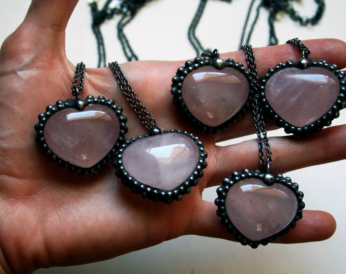 Rose Quartz Heart Necklace - Medium // Rose Quartz Crystal Puffed Heart Stone Necklace
