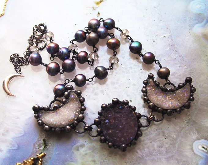 Druzy Crystal and Pearl Triple Moon Necklace // Angel Aura Druzy and Peacock Pearl Statement Necklace