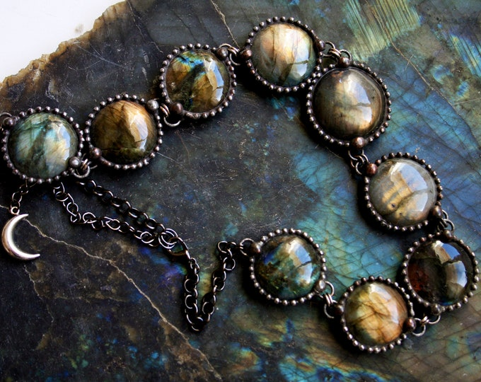 Labradorite Collar Choker Necklace // Round Rainbow Labradorite Statement Necklace // Labradorite Blue Gold Layering Necklace