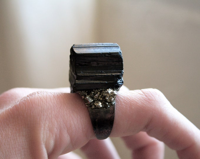 Large Black Tourmaline and Pyrite Statement Ring // Large Raw Tourmaline Adjustable Ring // Schorl Crystal Ring with Pyrite