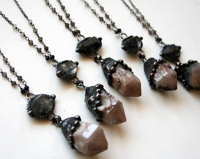 Colorado Elestial Candle Quartz and Tibetan Quartz Crystal Necklace