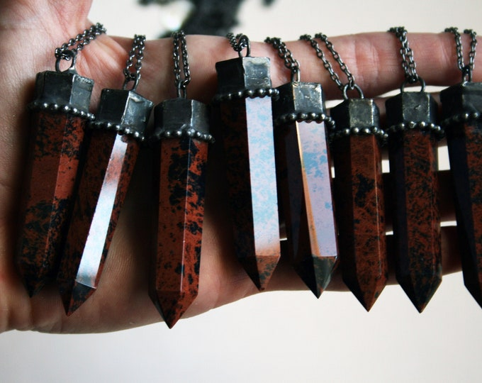 Red Obsidian Crystal Tower Necklace // Mahogany Obsidian Point Necklace // Red Black Crystal Obelisk Necklace