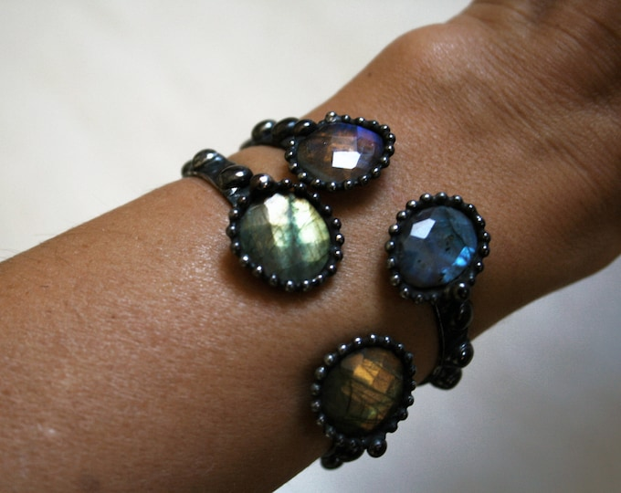Rainbow Labradorite Cuff Bracelet // Skinny Adjustable Cuff Bracelet with Faceted Labradorite Stones