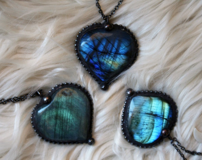 Heart Labradorite Crystal Necklace // Rainbow Labradorite Tumbled Heart Shaped Stone Necklace