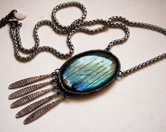 Rainbow Labradorite Crystal Fringe Necklace // Blue Labradorite Statement Necklace