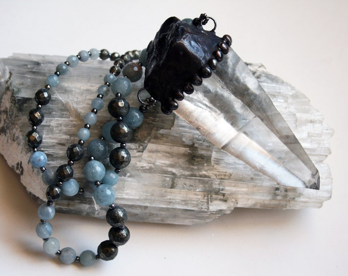 Massive Brazilian Lumerian Quartz Crystal and Aquamarine Necklace // Large Clear Quartz Statement Necklace with Blue Aquamarine Pyrite Beads