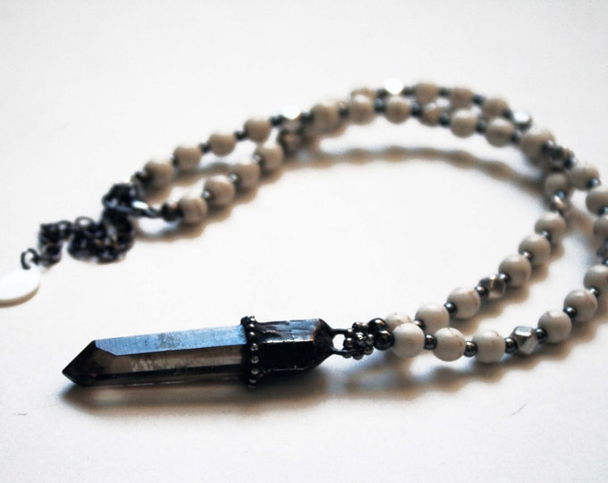 Terminated Black Smoky Quartz and Magnesite Beaded Necklace // Smoky Quartz Beaded Statement Necklace