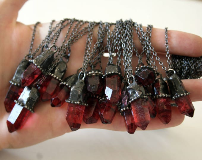 Small Red Quartz Crystal Necklace // Petite Red Quartz Crystal Point Minimal Layering Necklace