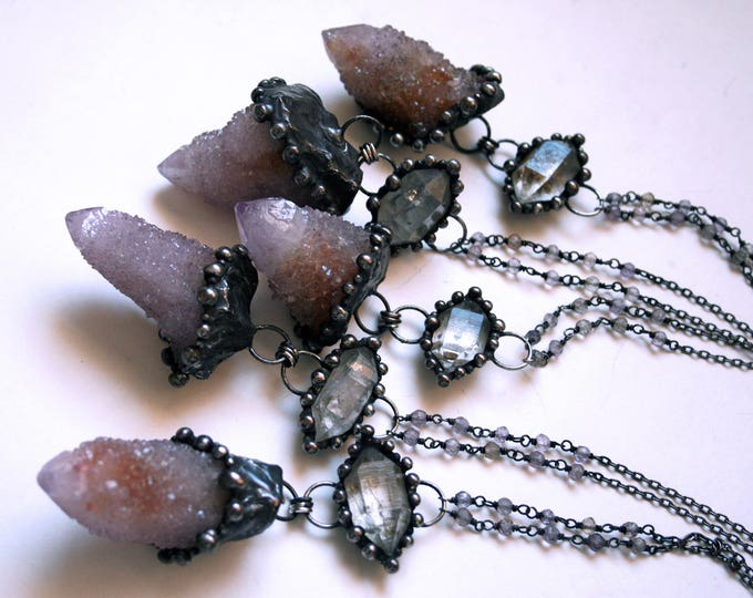 Ametrine Spirit Quartz and Tibetan Quartz Crystal Necklace // Cactus Quartz Amethyst Citrine Necklace