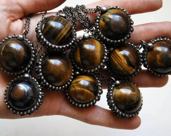 Tigers Eye Crystal Ball Necklace - Small // Round Tigers Eye Layering Necklace // Tigers Eye Gemstone Sphere Necklace