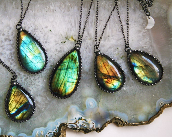 Labradorite Teardrop Necklace // Blue Gold Aqua Rainbow Labradorite Statement Necklace // Large Labradorite Flashy Layering Necklace