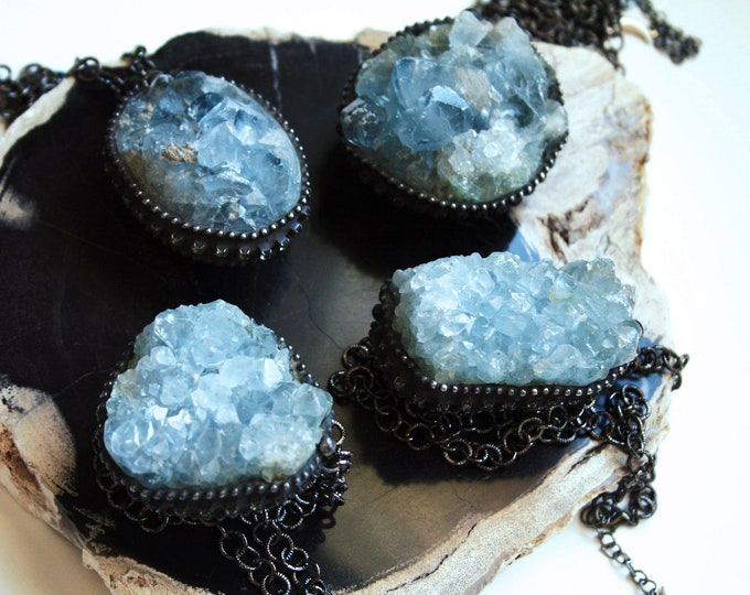 Massive Celestite Crystal Cluster Necklace // Blue Celestite Crystal Layering Necklace // Celestite Gemstone Necklace