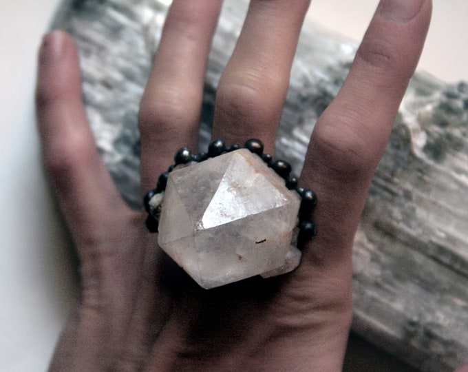Massive Terminated Candle Quartz Crystal Point Ring // Hematite Candle Quartz Adjustable Ring