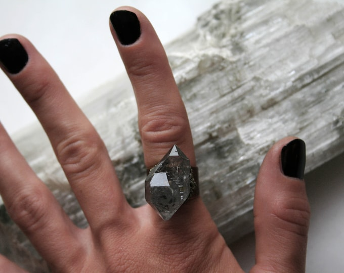 Tibetan Smoky Center Quartz Scepter Crystal Ring // Terminated Crystal Adjustable Ring // Crystal Cluster Ring with Pyrite