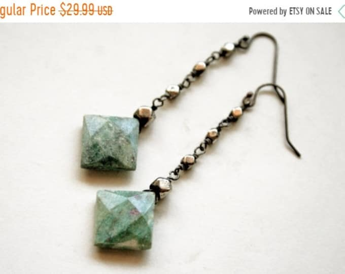 SUMMER CLEARANCE Ruby Fuchsite Dangle Earrings // Green Fuchsite Drop Earrings