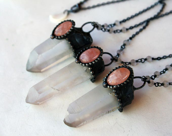 Medium Clear Quartz Crystal with Rose Quartz Necklace // Clear Quartz and Rose Quartz Statement Necklace