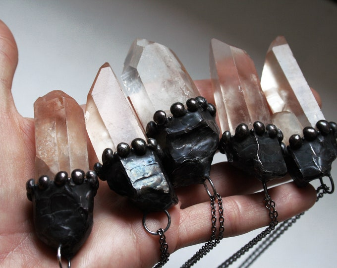 Large Natural Peach Quartz Crystal Necklace // Peach Quartz Point Layering Necklace