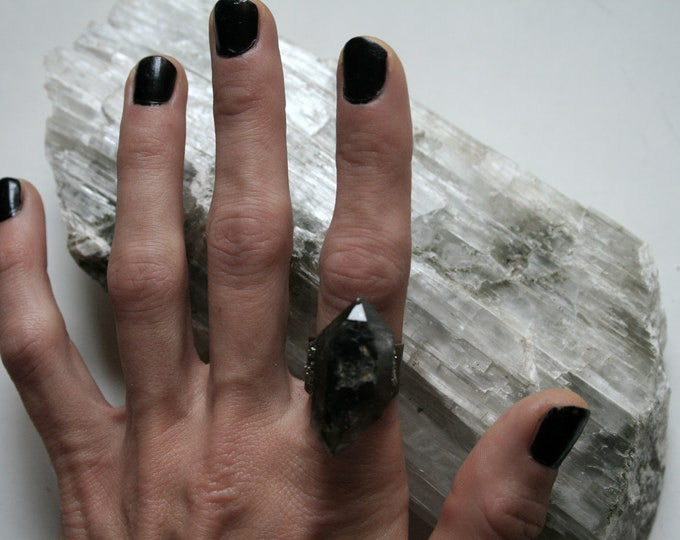 Tibetan Smoky Quartz Crystal Ring // Terminated Crystal Adjustable Ring // Crystal Ring with Pyrite