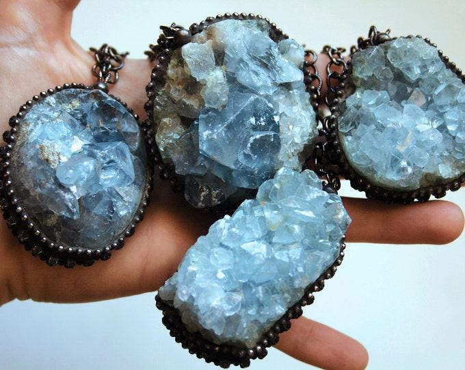 Massive Celestite Crystal Cluster Necklace // Blue Celestite Crystal Layering Necklace // Celestite Gemstone Necklace