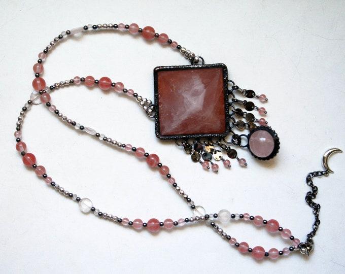 Large Rose Quartz Pyramid Fringe Necklace // Pink Rose Quartz Statement Necklace