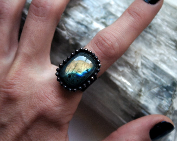 Gold Labradorite Ring // Yellow Gold Rainbow Labradorite Rectangle Adjustable Ring