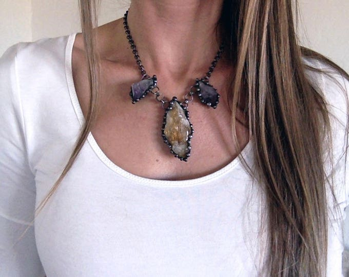 Citrine and Amethyst Bib Necklace