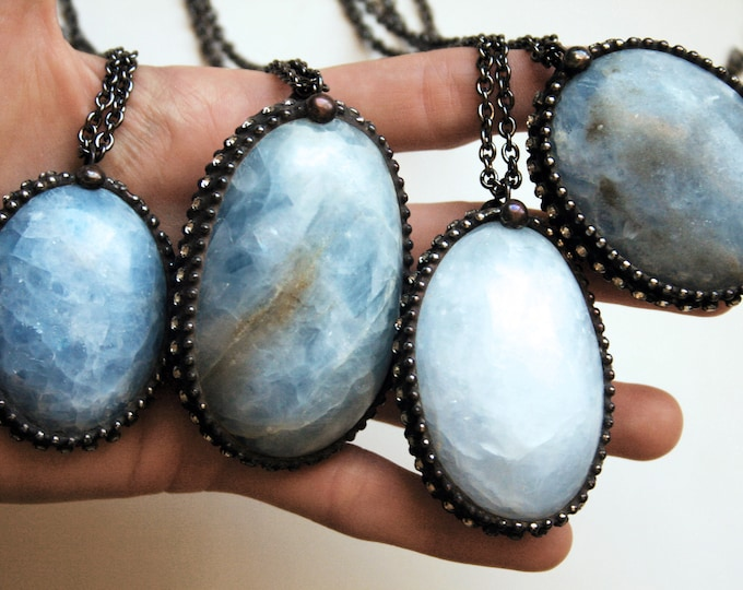 Large Blue Calcite Tumbled Egg Crystal Necklace // Blue Calcite Crystal Layering Necklace // Calcite Gemstone Necklace