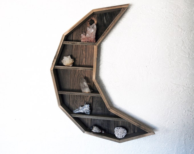 Massive Crescent Moon Curiosity Cabinet // Reclaimed Wood Moon Shelf // Crystal and Gem Display Shelving