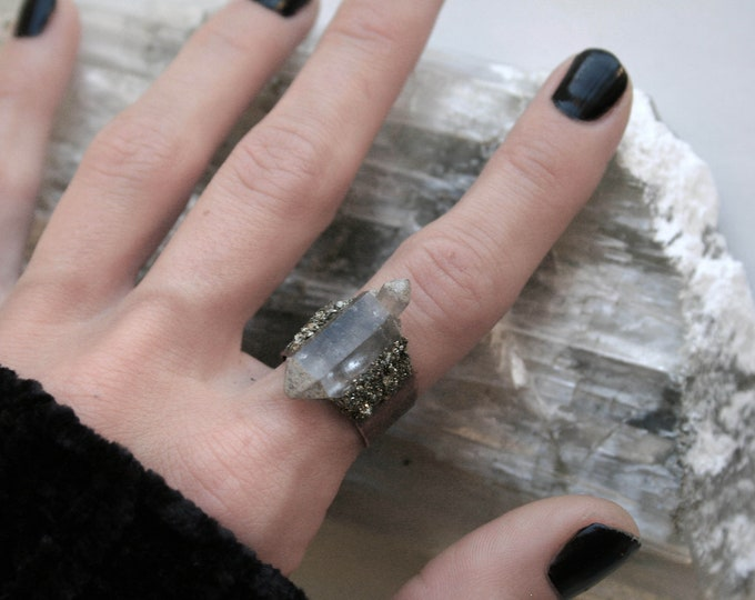 Tibetan Clear Quartz Crystal Cluster Ring // Terminated Crystal Adjustable Ring // Crystal Cluster Ring with Pyrite