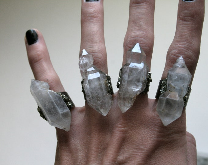 Choose Your Tibetan Quartz Scepter Crystal Ring // Terminated Crystal Adjustable Ring // Crystal Ring with Pyrite