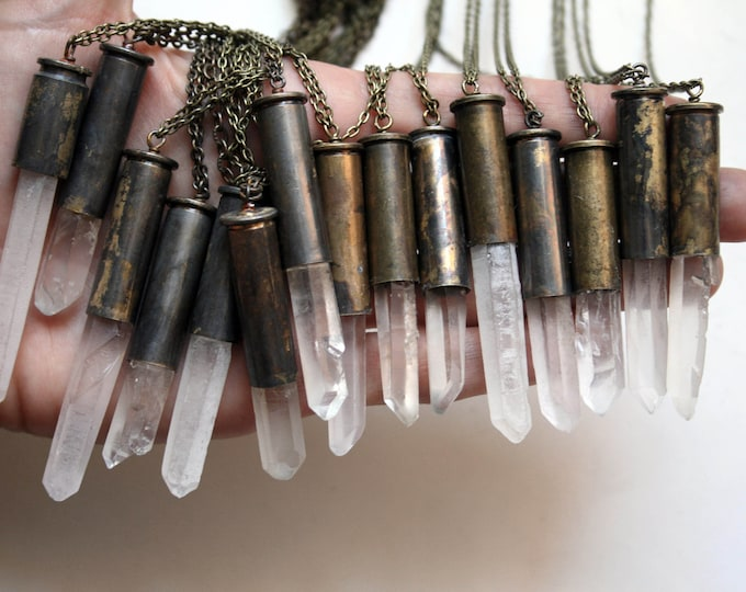 Extra Long Bullet Crystal Necklace // Terminated Quartz Point Crystal 357 MAG 38 SPL Bullet Casing Shell Necklace