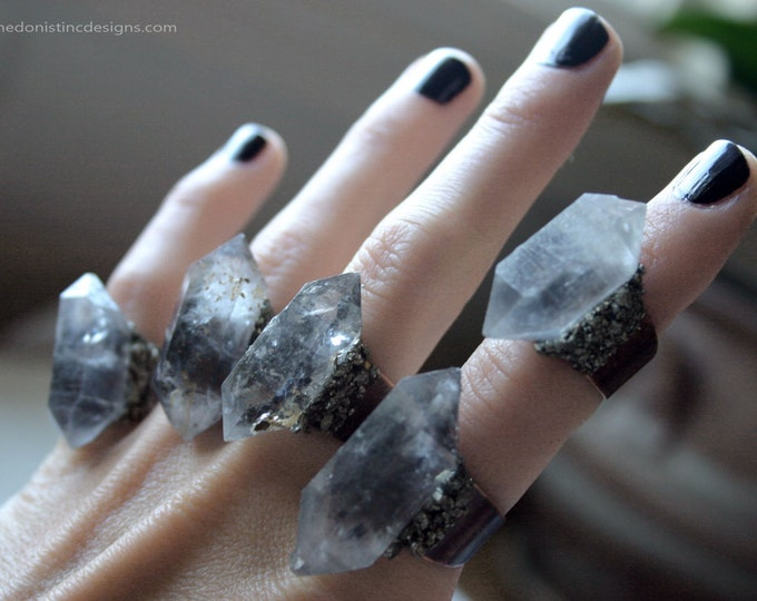 Tibetan Light Smoky Quartz Crystal Ring - Small Sized Crystal // Double Terminated Pale Smoky Quartz Rings with Pyrite