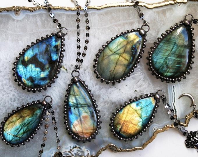 Extra Large Labradorite Teardrop Necklace // Blue Gold Aqua Rainbow Labradorite Statement Necklace // Labradorite Flashy Layering Necklace
