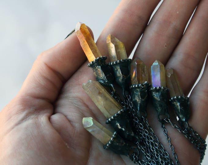 Small Lemon Aura Quartz Crystal Necklace // Petite Yellow Quartz Crystal Point Minimal Layering Necklace