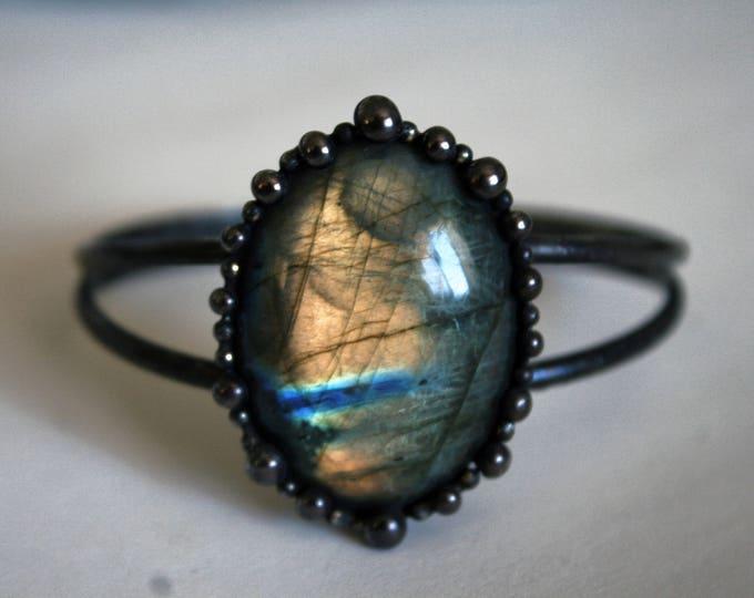Large Labradorite Cuff Bracelet // Rainbow Labradorite Statement Bracelet