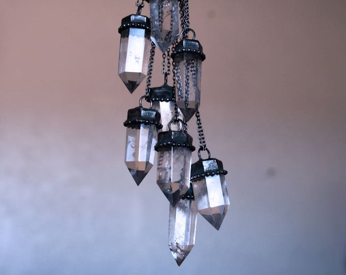 Small Clear Quartz Crystal Tower Necklace