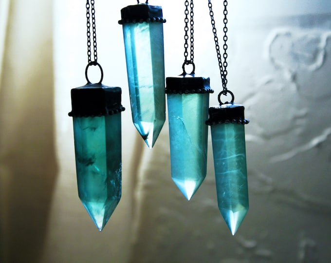 Large Aqua Fluorite Crystal Tower Necklace // Large Sea Green Fluorite Crystal Point Necklace