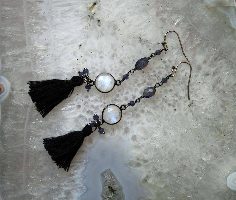 Rainbow Moonstone and Iolite Tassel Earrings  Rainbow Moonstone and Iolite Dangle Earrings