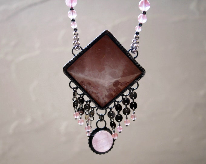 Large Rose Quartz Pyramid Fringe Necklace // Pink Rose Quartz Statement Necklace