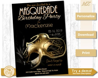Masquerade invitation etsy birthday graduation party invite masquerade paper mask gold black 7x5 custom invitation instant download template filmwisefo