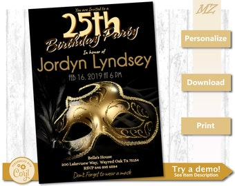 Customizable Birthday Party Invite - Masquerade Gold 5x7 Invitation - Custom Instant Download Template PDF JPG PNG