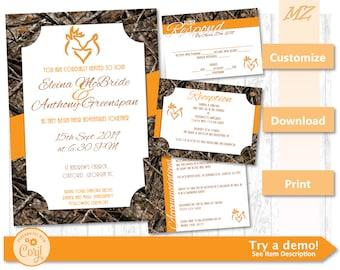 Camo wedding invitation etsy customizable wedding invite set orange camo invitation instant download solutioingenieria Image collections