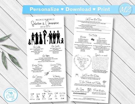 Unique black silhouettes Editable fonts colors Infographic wedding Timeline Printable Corjl digital file 4x9 Wedding Program Template