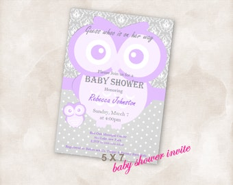 5X7 Baby shower invite Invitation Instant Download printable!  boy or girl purple grey damask owl new mom