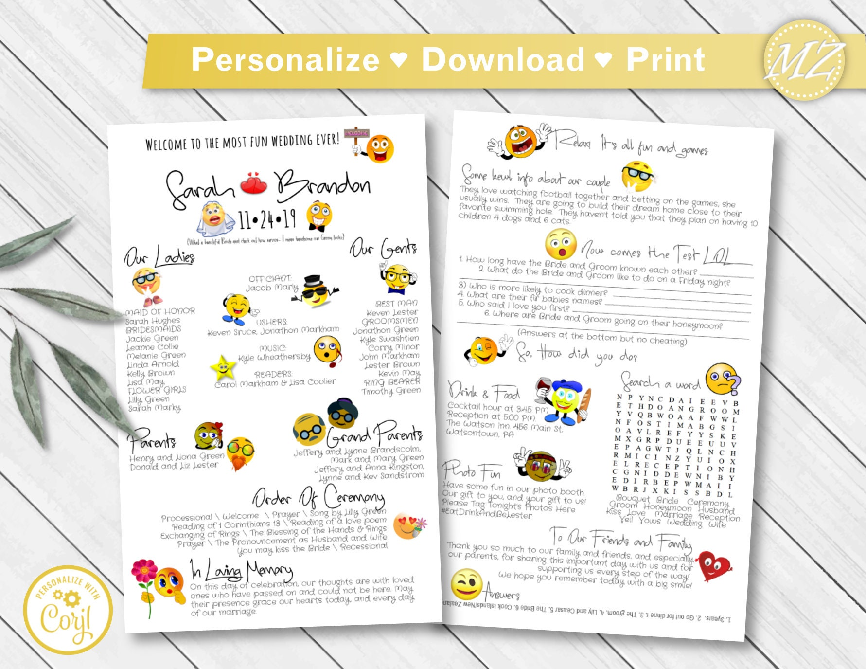 FUN Customizable Wedding Program - 5x8 2 sides - Unique Smiley Emoji  Emoticon Infographic Games - Instant Download Template - Recolorable!