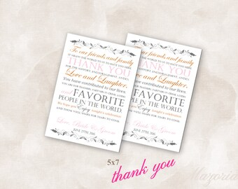 5X7 Wedding reception thank you place setting cards pink burnt orange Instant Download Just add your info and print!