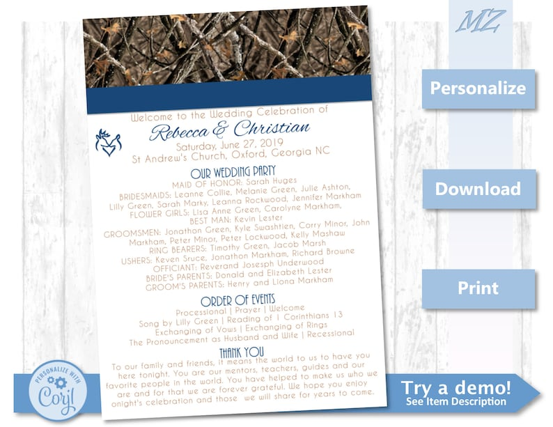 Customizable Wedding Program Template - Camo Instantly and easily adjust  color and wording - Custom Instant Download camouflage