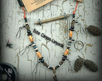 Fly Fishing Lanyard + Tippet Holder with Bone, Wire, and Wood Beads on Solar Orange 2mm Paracord