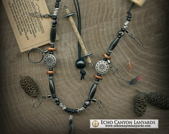Fly Fishing Lanyard + Tippet Holder with Buffalo Horn, Bone,and Wood Beads on Black 2mm Paracord